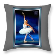 Ballerina On Stage L A With Alt. Decorative Ornate Printed Frame.  Throw Pillow
