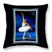 Ballerina On Stage L A With Decorative Ornate Printed Frame. Throw Pillow