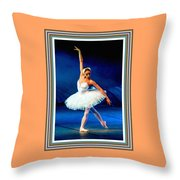 Ballerina On Stage L B With Alt. Decorative Ornate Printed Frame. Throw Pillow