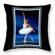 Ballerina On Stage L B With Decorative Ornate Printed Frame. Throw Pillow
