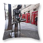 Ballerina Statue And Telephone Boxes Throw Pillow