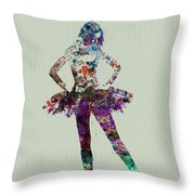 Ballerina Watercolor Throw Pillow by Naxart Studio