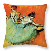 Ballet Dancers At The Barre Throw Pillow
