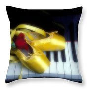 Ballet Shoes On Piano Keys Throw Pillow by Garry Gay