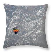 Ballon Verses Mountain Throw Pillow
