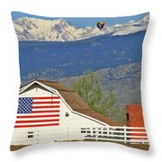 Balloon Barn And Mountains Throw Pillow