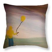 Balloon Boy Faces The Storm  Throw Pillow