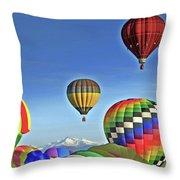 Ballooning Above Longs Peak Throw Pillow