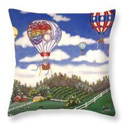 Ballooning Over The Country Throw Pillow