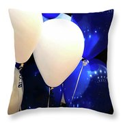 Balloons Of Blue And White Throw Pillow