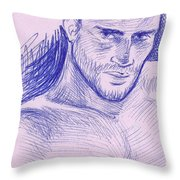 Ballpointpenportrait Throw Pillow