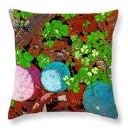 Balls And Clover Throw Pillow