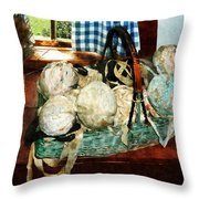 Balls Of Cloth Strips In Basket Throw Pillow