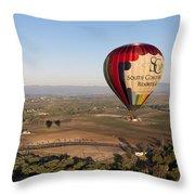 Baloon Riding  Over Temecula Ca Throw Pillow