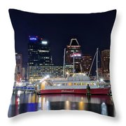 Baltimore Harbor At Night Throw Pillow