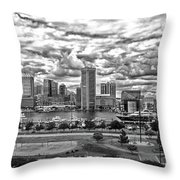 Baltimore Inner Harbor Dramatic Clouds Panorama In Black And White Throw Pillow