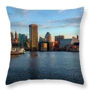 Baltimore Inner Harbor Sunrise Throw Pillow