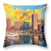 Baltimore Maryland Skyline Throw Pillow