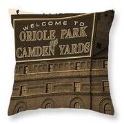 Baltimore Orioles Park At Camden Yards Sepia Throw Pillow