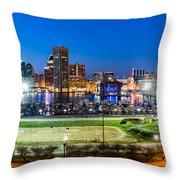 Baltimore Skyline Panorama At Dusk Throw Pillow