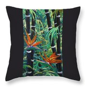 Bamboo And Birds Of Paradise Throw Pillow