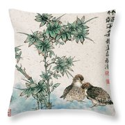 Bamboo And Chicken Throw Pillow