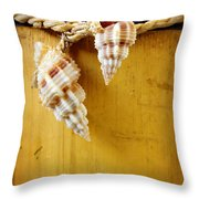 Bamboo And Conches Throw Pillow by Carlos Caetano