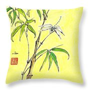 Bamboo And Dragonfly Throw Pillow