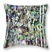 Bamboo Background In Nature Throw Pillow