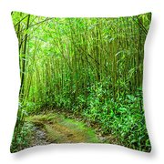 Bamboo Forest Trail Throw Pillow