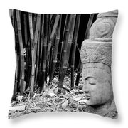 Bamboo Landscape  Statue Asian  Throw Pillow