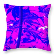 Bamboo Like Leaves Blue Throw Pillow