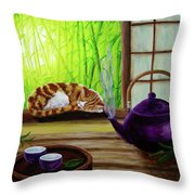 Bamboo Morning Tea Throw Pillow