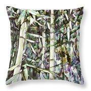 Bamboo Sprouts Forest Throw Pillow