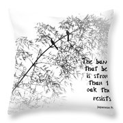 Bamboo Tree With Two Birds Bends In The Wind Throw Pillow