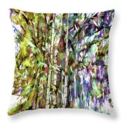 Bamboo Trees In Park Throw Pillow