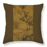 Bamboos And Orchids In The Wind Throw Pillow