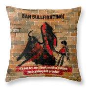 Ban Bullfighting Throw Pillow