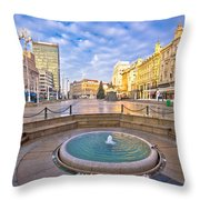 Ban Jelacic Square In Zagreb Advent View Throw Pillow