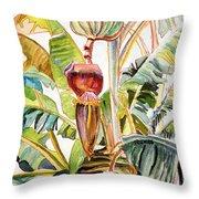 Banana Bloom Throw Pillow
