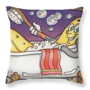 Banana Bubble Bath Throw Pillow