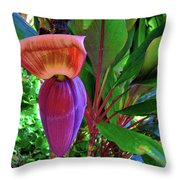 Banana Plant Flower And Leaves Throw Pillow