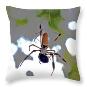 Banana Spider Lunch Time 1 Throw Pillow