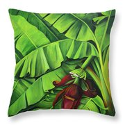 Banana Tree Flower Throw Pillow