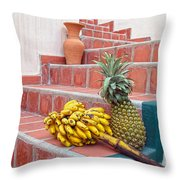 Bananas And Pineapple On Terracotta Steps Throw Pillow