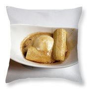 Bananas Foster In A White Dish Throw Pillow