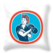 Bandana Woman Lifting Dumbbell Circle Retro Throw Pillow
