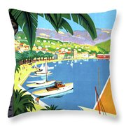 Bandol, French Riviera, Boats On Port Throw Pillow