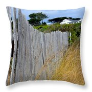 Bandon Beach Fence Throw Pillow