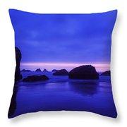 Bandon Beach Oregon Blue Sunset Throw Pillow